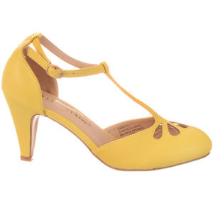 NEW Vintage Pinup Maryjane Heels Lemon Chiffon